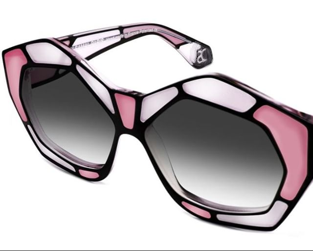 LEONARDO Handmade acetate frames, inspired by Tiffany art deco stained glass. Ready-fitted solar lenses with 100% UV protection.  Colour:  Tonal Pinks / Black Designer: Dzmitry Samal, Paris www.eyemasters.co.uk  #Specs #Spectacles #Frames #Glasses #Eyeware #Fashion #Instafashion #Hastings #Bexhill #Rye #Battle #tunbridgewells