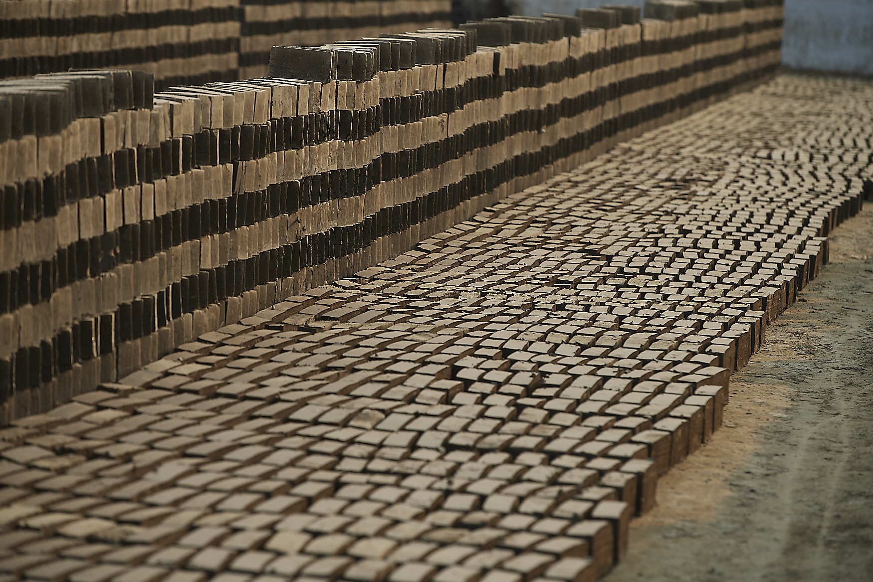 bricks laid to dry in the sun