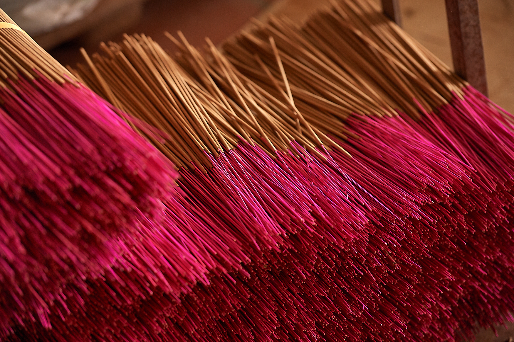 Dried incense sticks are prepared for packaging