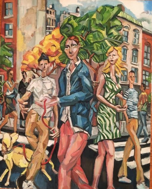 "A Fiasco In the West Village - So many of paintings develop a narrative, as I spend time with the canvas. ""Fiasco"" is one of these. After creating the central figure's Nantucket Red pants, I placed him and his pecular gate in the affluent West Village, adding characters to the perspective of the corner and narrative. A real scene stealer, oblivious to his dog's leash tangling up the skateboarder, who probably belongs a half mile east.I love the green tree, and the background the figures under the early fall tree, starting to change color. The transition between summer and fall hangs over a corner that doesn't exist in real life, but is cobbled together from structal elements cobbled together from this wonderful New York neighborhood.30 x 24 $5000"