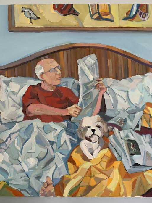 Ralph - Painted from a photo, this is my stepfather Ralph. With side kick, Lucy in the foreground, Ralph delves into his favorite past time of relaxing reading the paper.Possibly his second favorite activity, as I didn't have a photo of Ralph launching into an outdoor construction project. Either way I was very happy with the texture of the sheets, giving an artistic rendition to a calm and peaceful Sunday morning.36 x 24