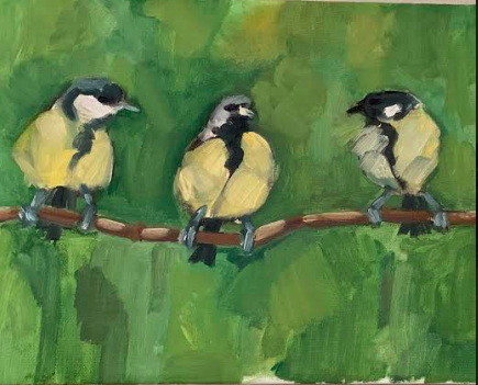 Three Birds - A favorite painting of mine, were two birds I painted on my cousin's apartment. Since that painting couldn't leave when she did, it's gone for the ages.Three Birds is a new favorite, with calm simple brushstrokes above the green textural wall.$1000