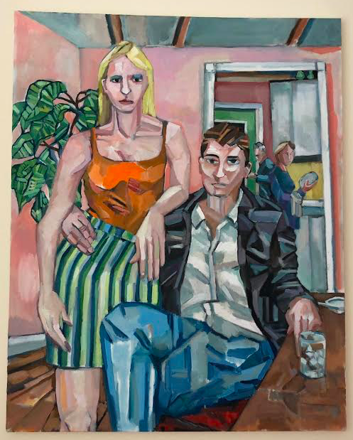 Dotty and Doug - This painting is an interpretation of a couple friends of mine, having a few decades shaved off the clock. Younger with parental figures looking on ready for trouble, its a story of young love.I'm a fan of the fig tree that looms in the background, providing the room with a nice sense of depth.$3000