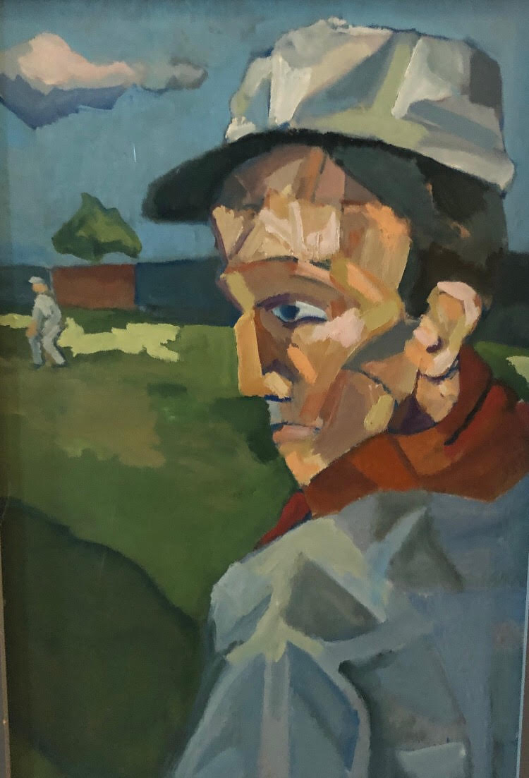 OLD TIMEY BASEBALL - To be honest, I painted this guy with a weird head, through a cap on it, and thought he looked like a baseball player, so painted an old time background. To be even more honest, I love this one for its rawness and simplicity.$1000 16x12