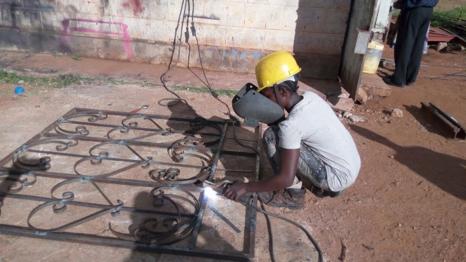 Neema Lucas at her welding apprenticeship