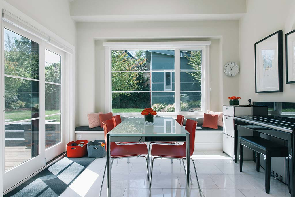 Dining area leading to backyard