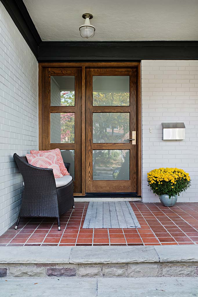 Front entry with wood and glass dooor