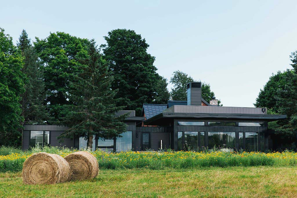 Modern addition to traditional farmhouse.