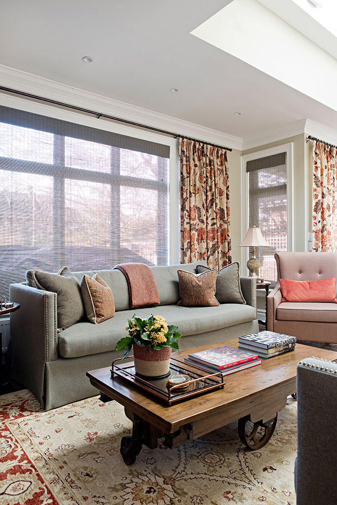 - We really focused on the details for this project: In the family room, this meant his-and-hers tailor-made sofas, quality fabrics in coordinating colours and textures, custom trims and nail head details.