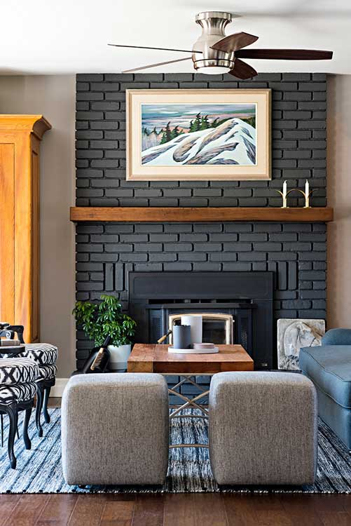 painted grey brick fireplace