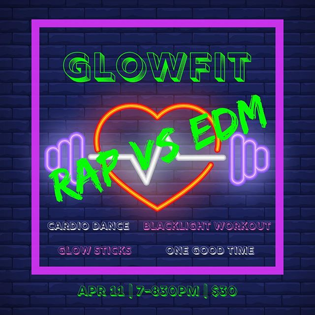 It's official! GLOWFIT ROUND 2 is on the schedule with @erikawinkels and @carriejooy 😎🔥💥💦💃This time, we are bringing you a Rap vs EDM playlist to get your head bumpin' and body groovin'! Cardio Dance. FIT Workout. Glow Sticks. And tons of fun! Join us Th April 11, 7-830pm at TIGERFIT. Tickets are $30. Members get 10% discount. See you there! #funfitness #glowup #rap #edm #sweatitout #cardiodance