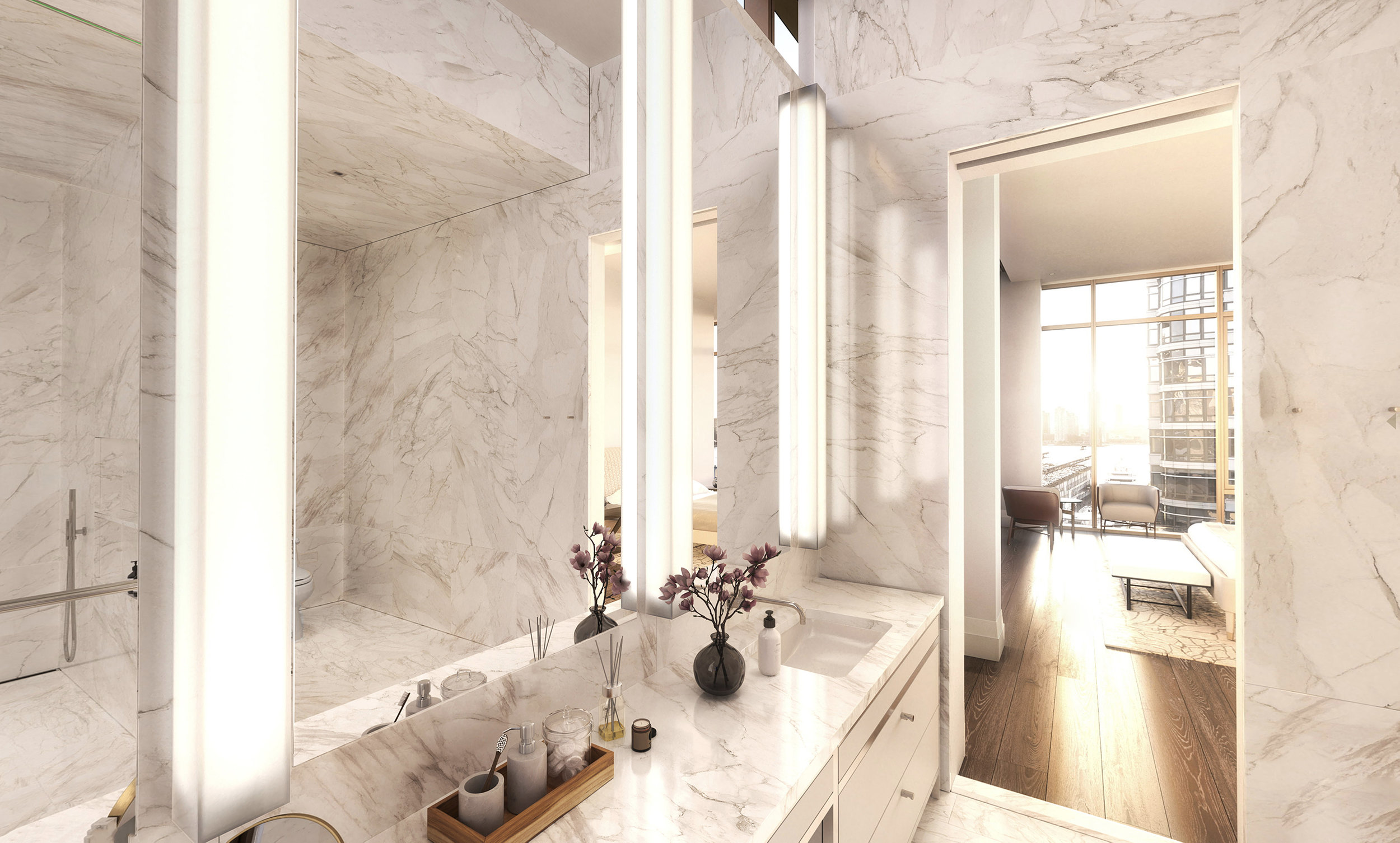 IMPECCABLY DETAILED BATHROOMS - Bathrooms are clad in floor-to-ceiling honed full-slab Ariston marble surfaces, heated floors, and accentuated with Vola hardware throughout.