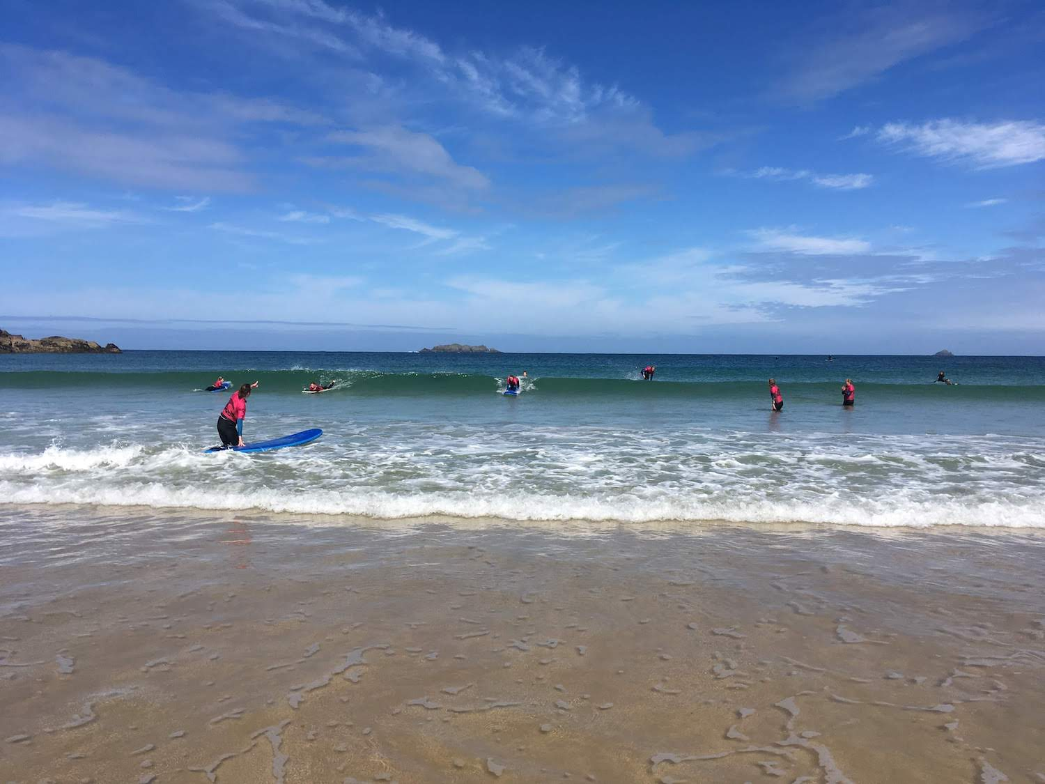 Learning to surf on Surf and Yoga Holiday in Cornwall