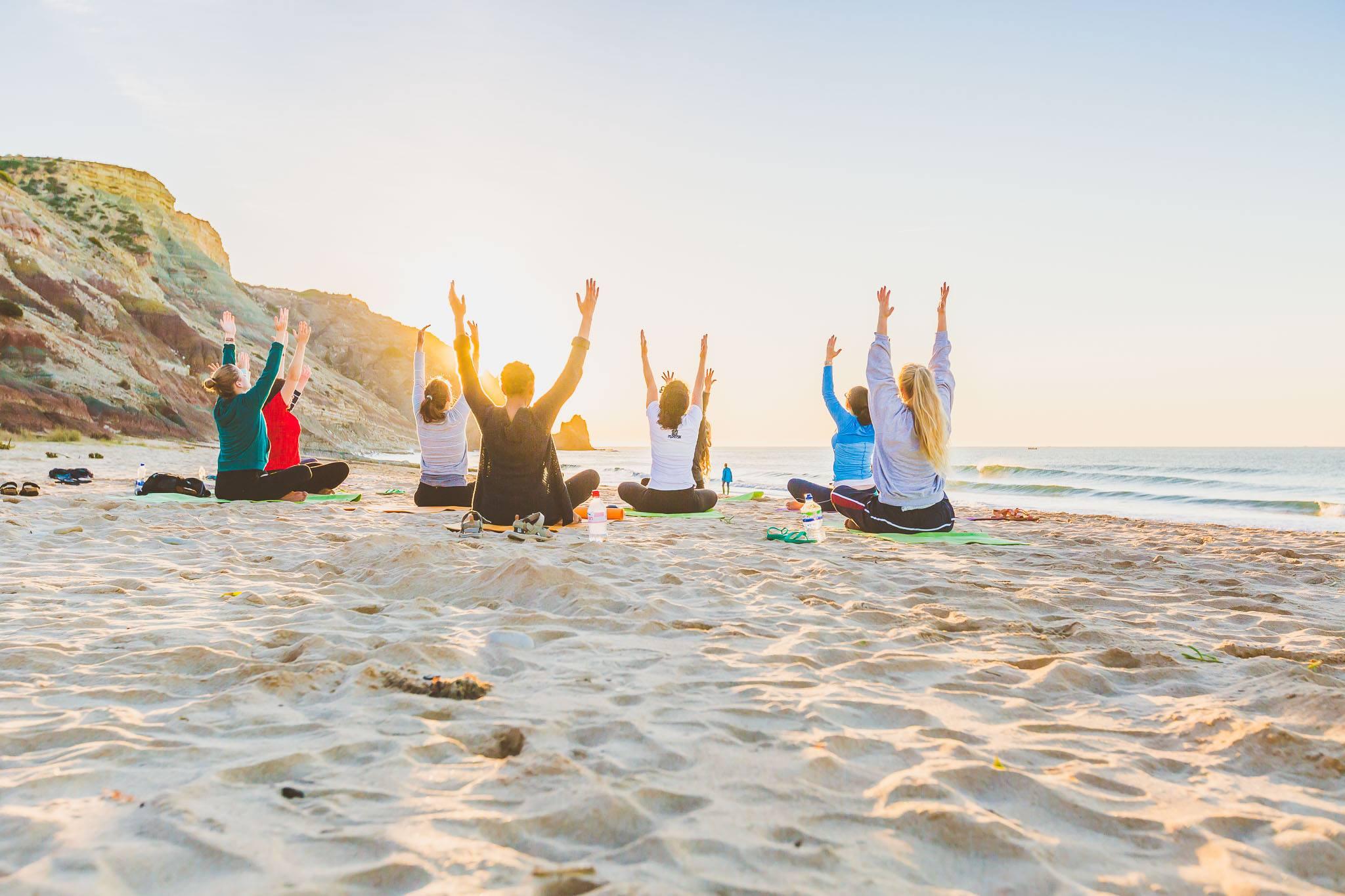 Beach yoga in stunning Portugal…