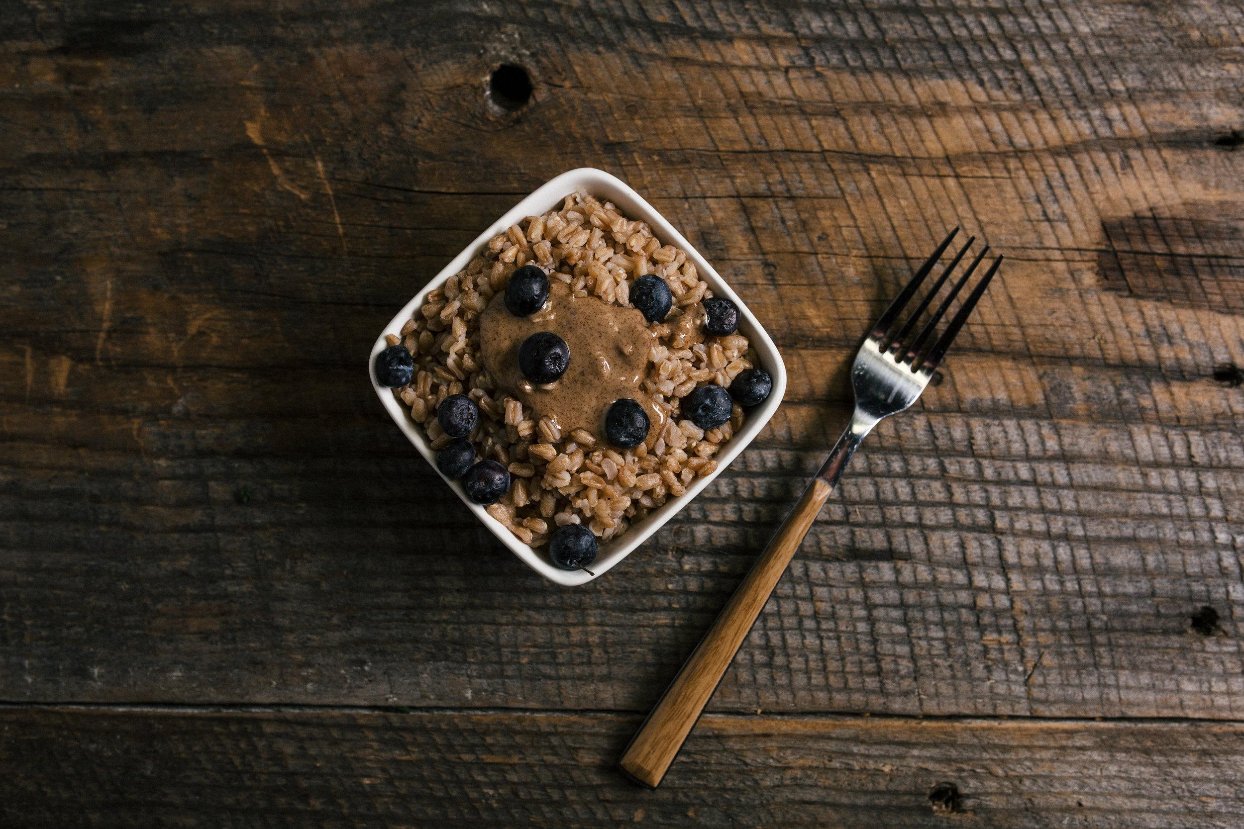 Farro almond butter blueberries breakfast recipe idea