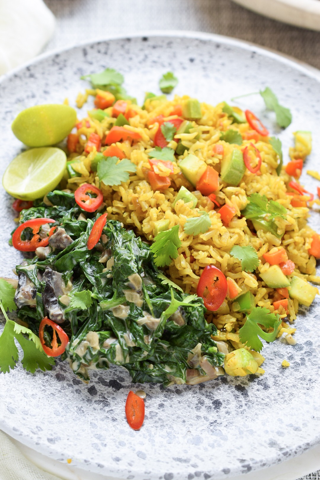 Dinner 1 - Spinach & Curried Rice