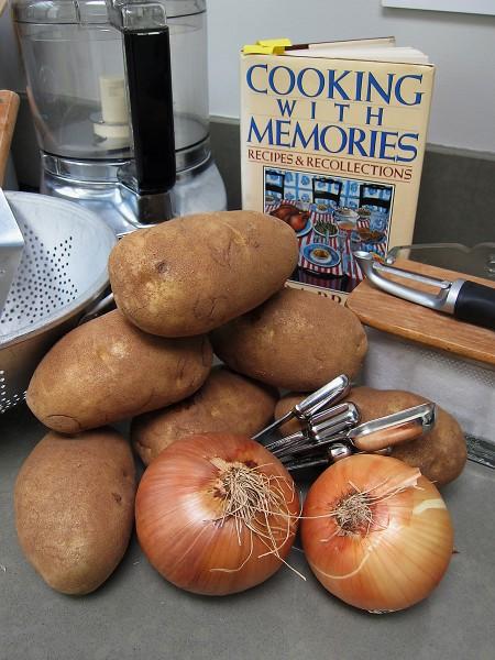 Ingredients gathered for potato latkes