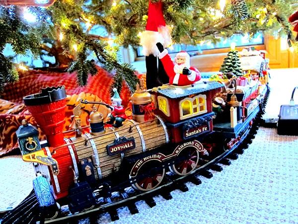Choo choo train around the base of the tree