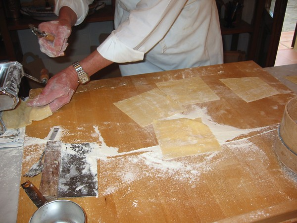 squares of home made pasta