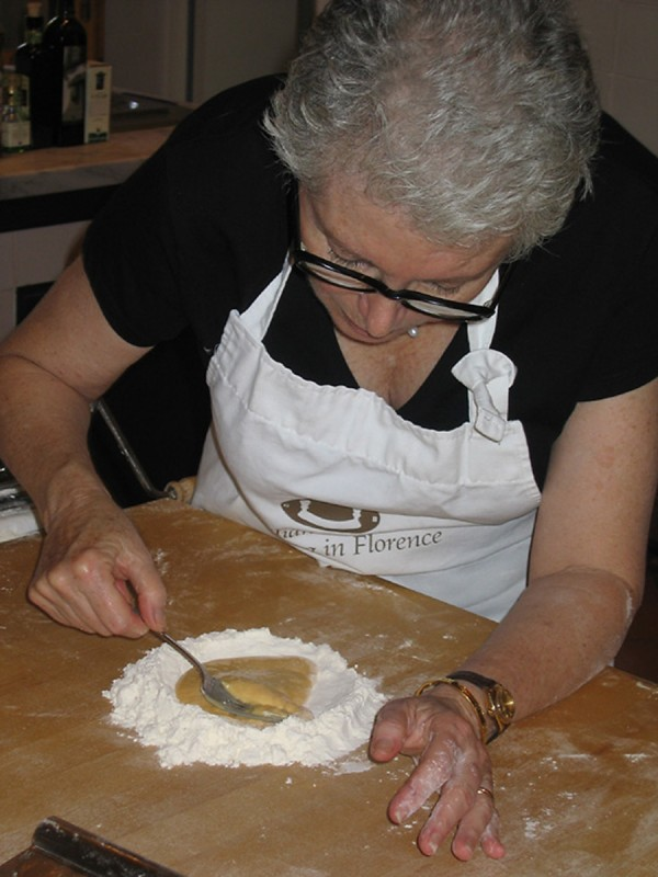 Sandy concentrating on making handmade pasta