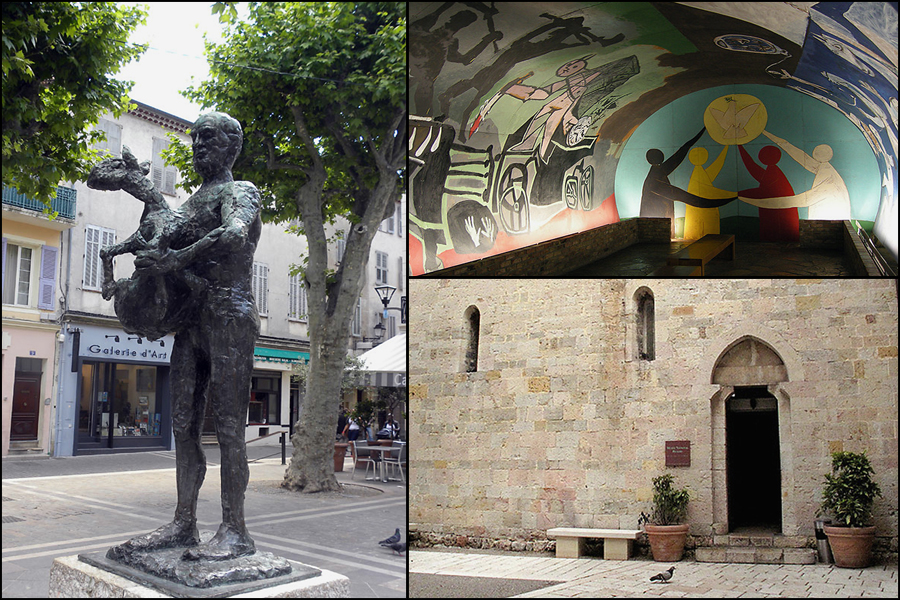 Vallauris, Picasso statue of Man with a Sheep, and War and Peace Museum