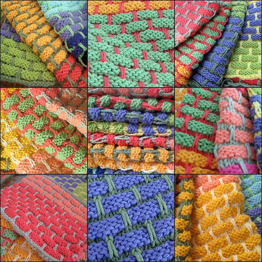 Hand knit dishrags in a collage