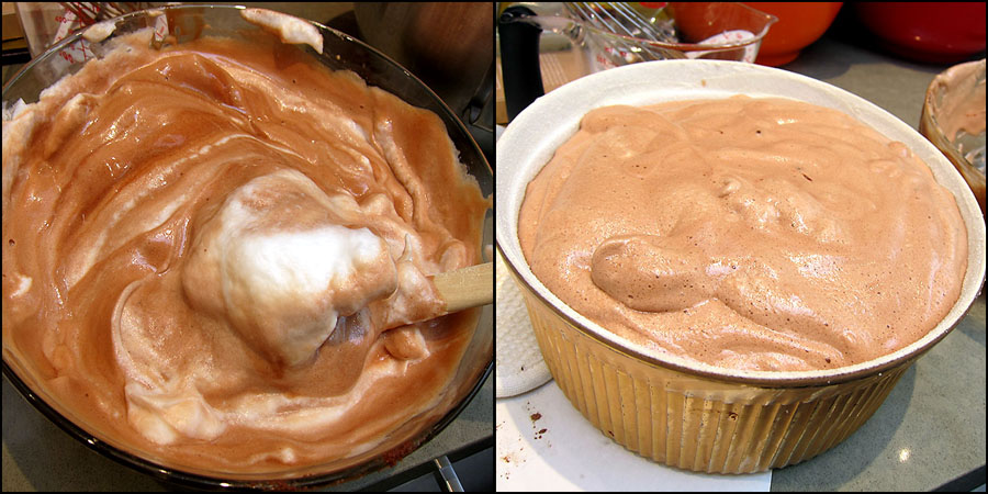Melted Chocolate folded with egg whites