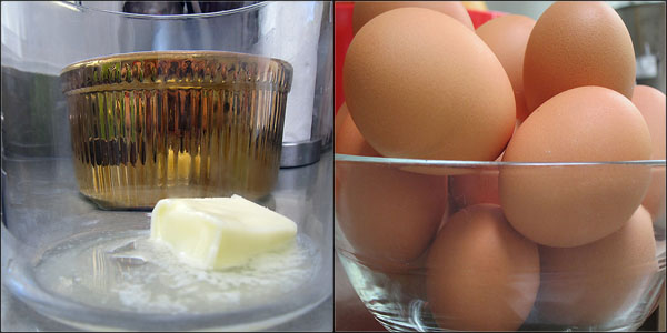 Souffle´mold and eggs