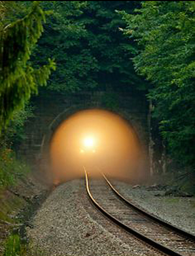 Train, light at the end of the tunnel