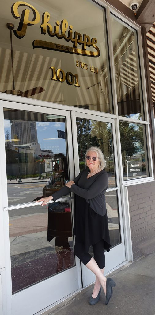 Sandra Sallin at the entrance to Philippe's restaurant