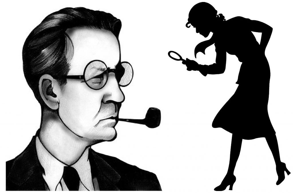 Silouettes of Raymond Chandler and girl detective
