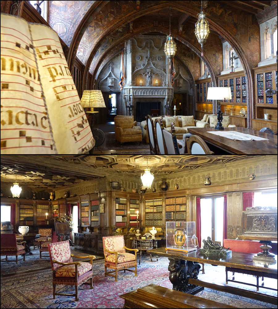 Lounge and library at Hearst castle