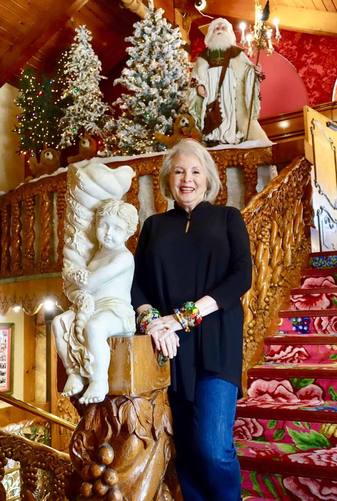 Sandra on the stairs of the Madonna Inn