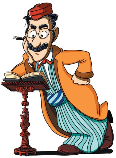 Groucho Marx leaning on a book stand