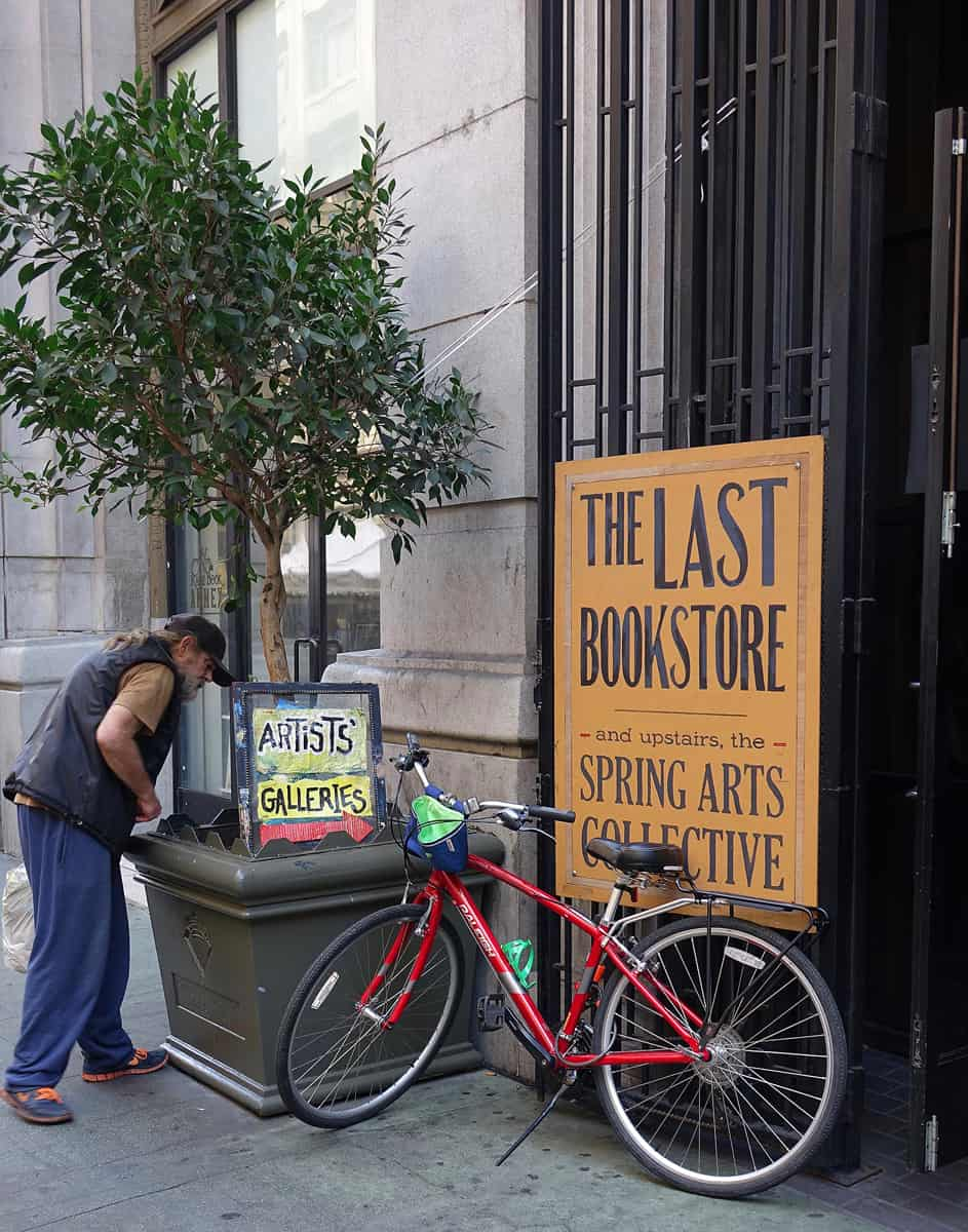 Homeless man at The Last Bookstore