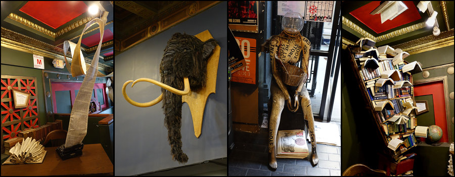 Four photos of curiosities at The Last Bookstore