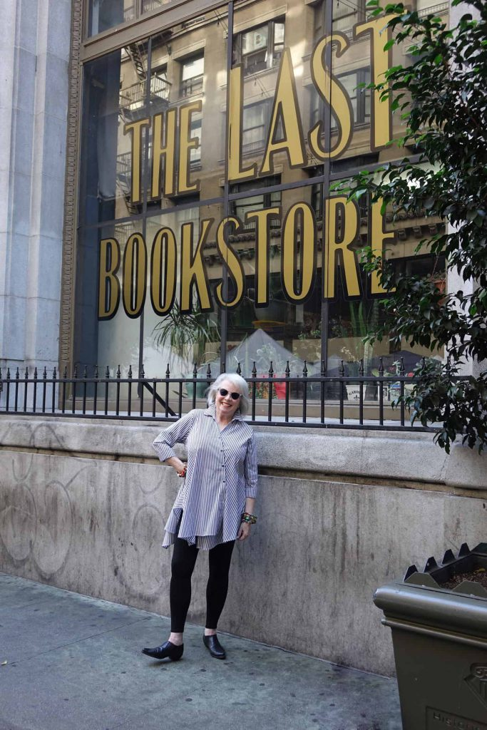 Sandra in front of The Last Bookstore in downtown Los Angeles