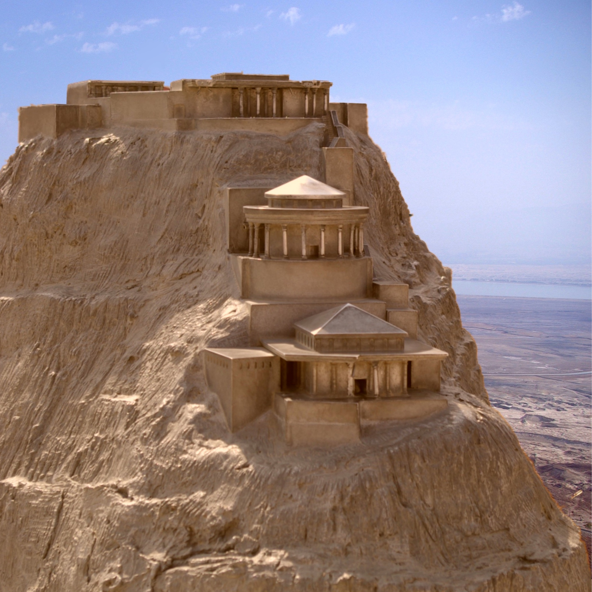 A computer mockup of Herod's luxurious Palace hanging on the cliffs of the Masada