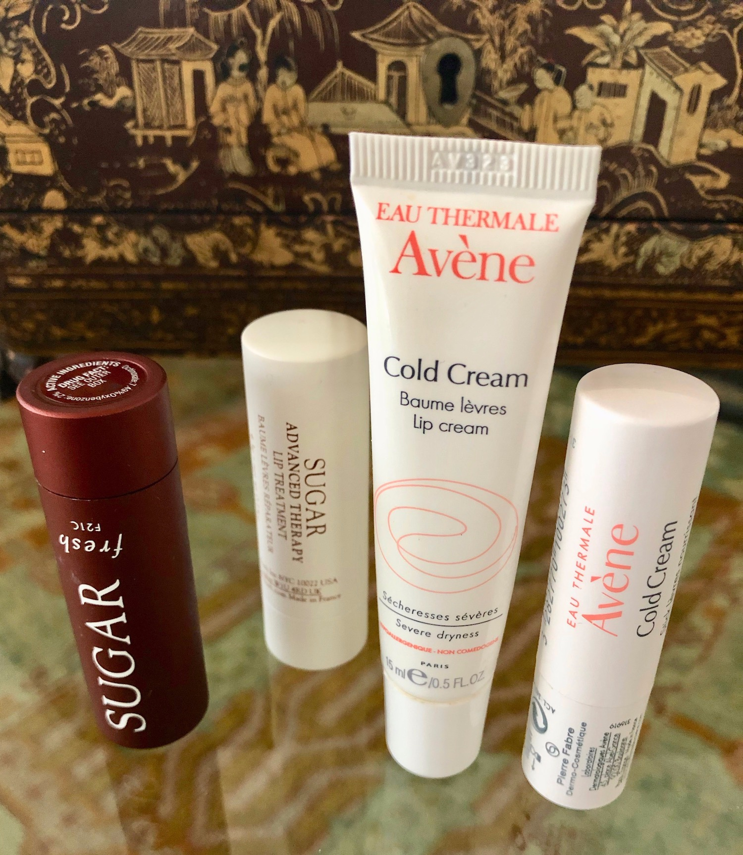 My favorite lip balms.  Avéne Cold Cream lip cream  and  Avéne Cold Cream lip Balm . I also like  Fresh Lip Therapy with SPF  and  Fresh Advanced Therapy Lip Treatment .