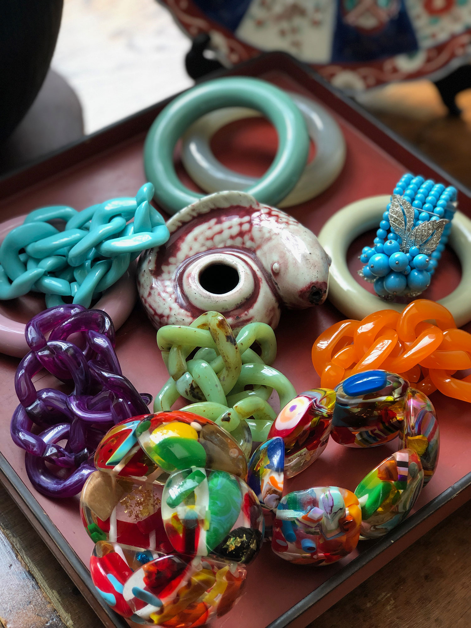 Here are some of my Angela Caputi bracelets plus a few Sobrals and a Miriam Haskel.