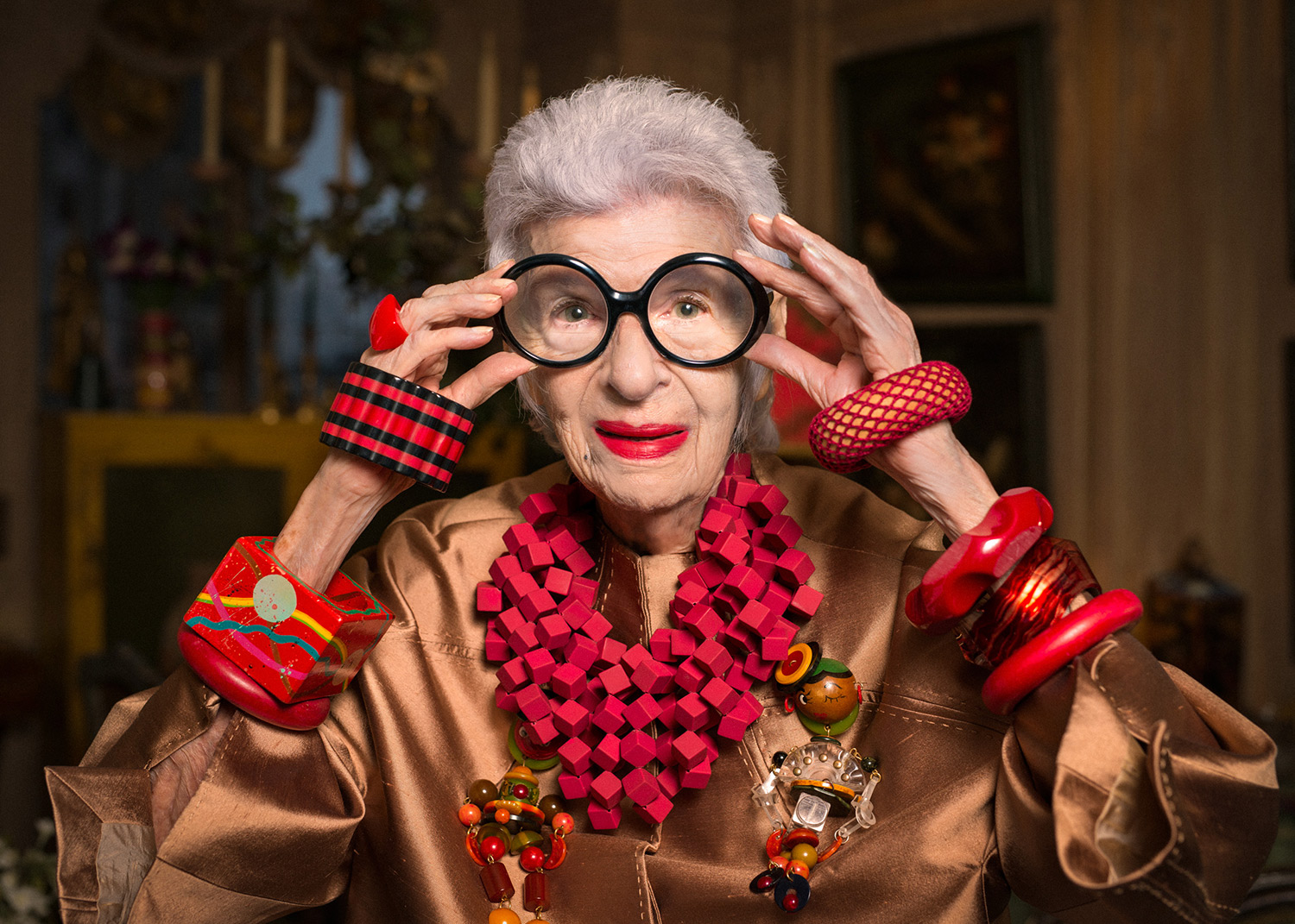 Iris Apfel shows us how 97 can look in all its glory. I wonder what lipstick she's wearing. Or 2 or 3.