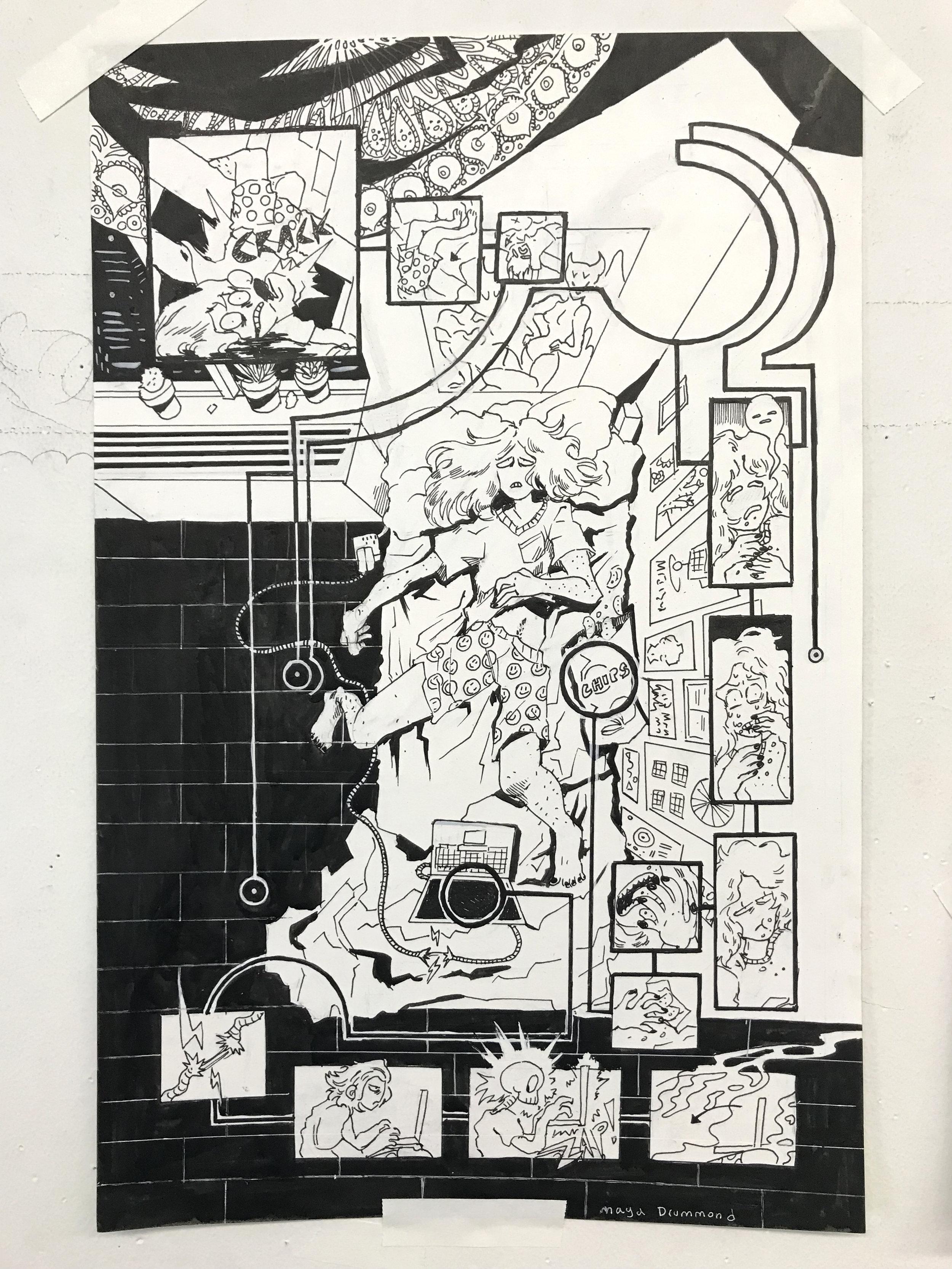 Branching narrative by Maya Drummond, Principles of Cartooning, '18-'19.