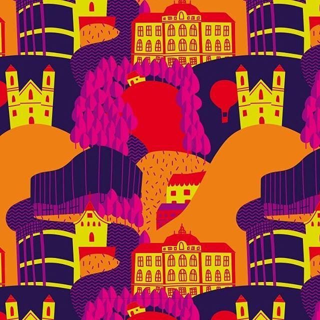 Sightseeing.  Pattern-Illustration for fairtrade products for the city of Weiz.  #illustration #sightseeing #pattern #city #weiz #packagingdesign #fairtrade #coffee #chocolate #vector #color #thecardamoms