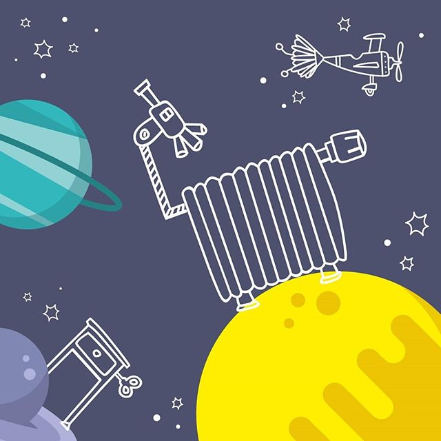 Ideas, ho!  Illustrations for Jugend Innovativ. In cooperation with wurzinger design. @thecardamoms  #illustration #jugendinnovativ #innovativ #outerspace #planets #lines #vector #discover #universe