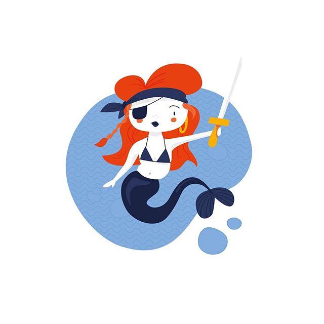 Work in progress.  #illustration #mermaid #mermay2019 #pirate #sea #vector #spotillustration