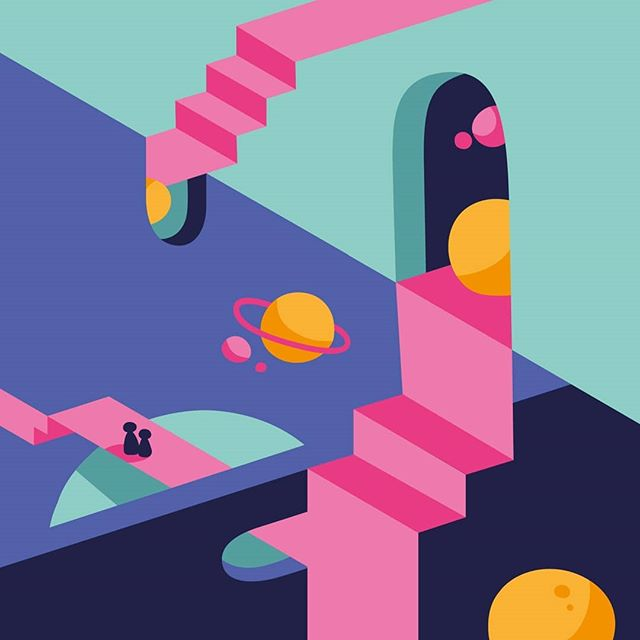 Thinking about the universe.  Artwork I did at Masterclass @yangblog  @atelier_olschinsky_artstore  #illustration #universe #escher #headaches #perspective #confused #thinking #colorful #triedtoanimate #andfailed