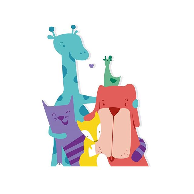 Friends. Work in progress @thecardamoms  #illustration #vector #animals #friends #friendship #cute #gang #colorful