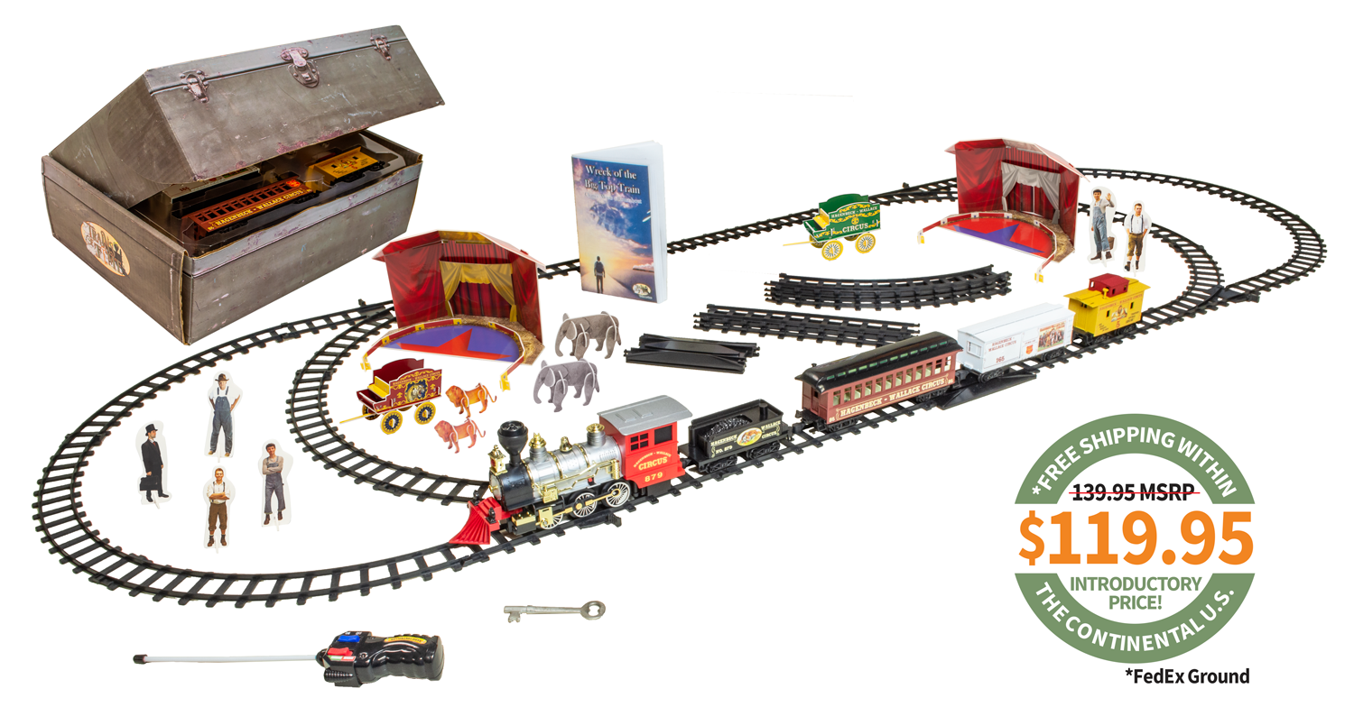 Photo of the complete set with trains, circus, vehicles, book, toolbox and pewter key