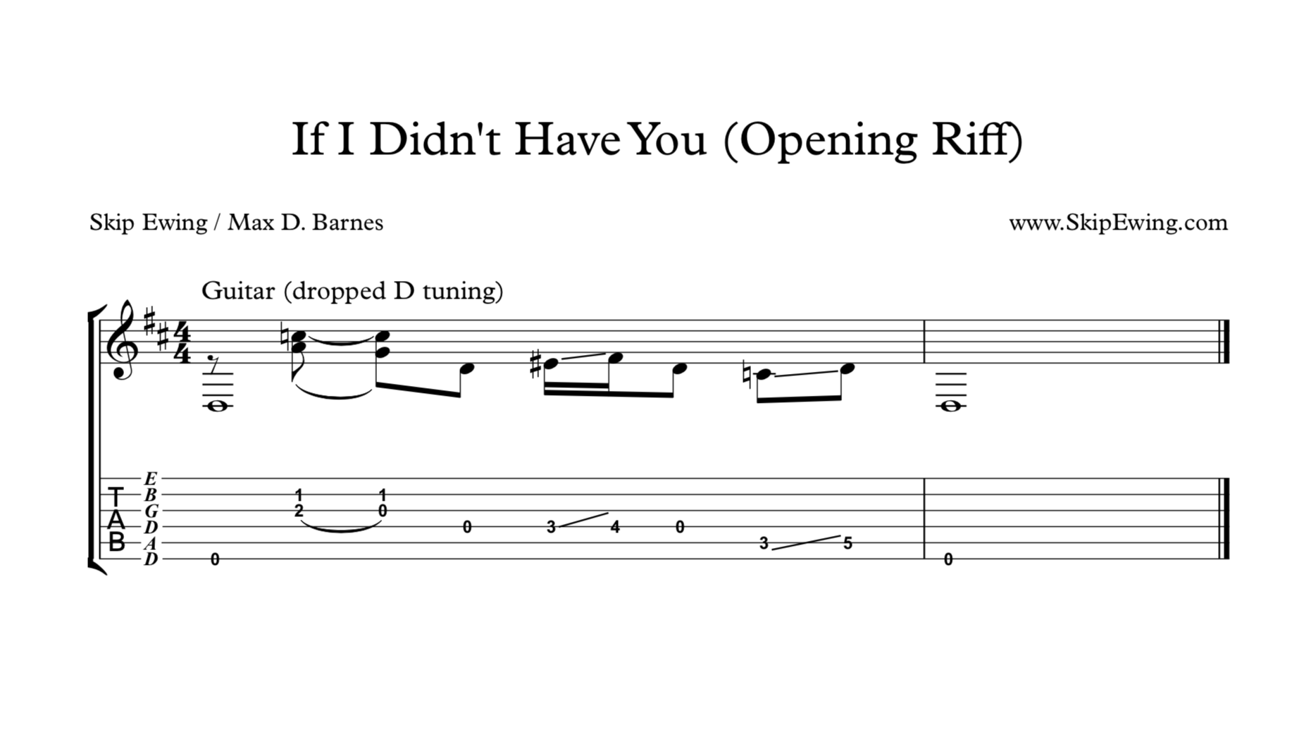If I Didn't Have You (Opening Riff)