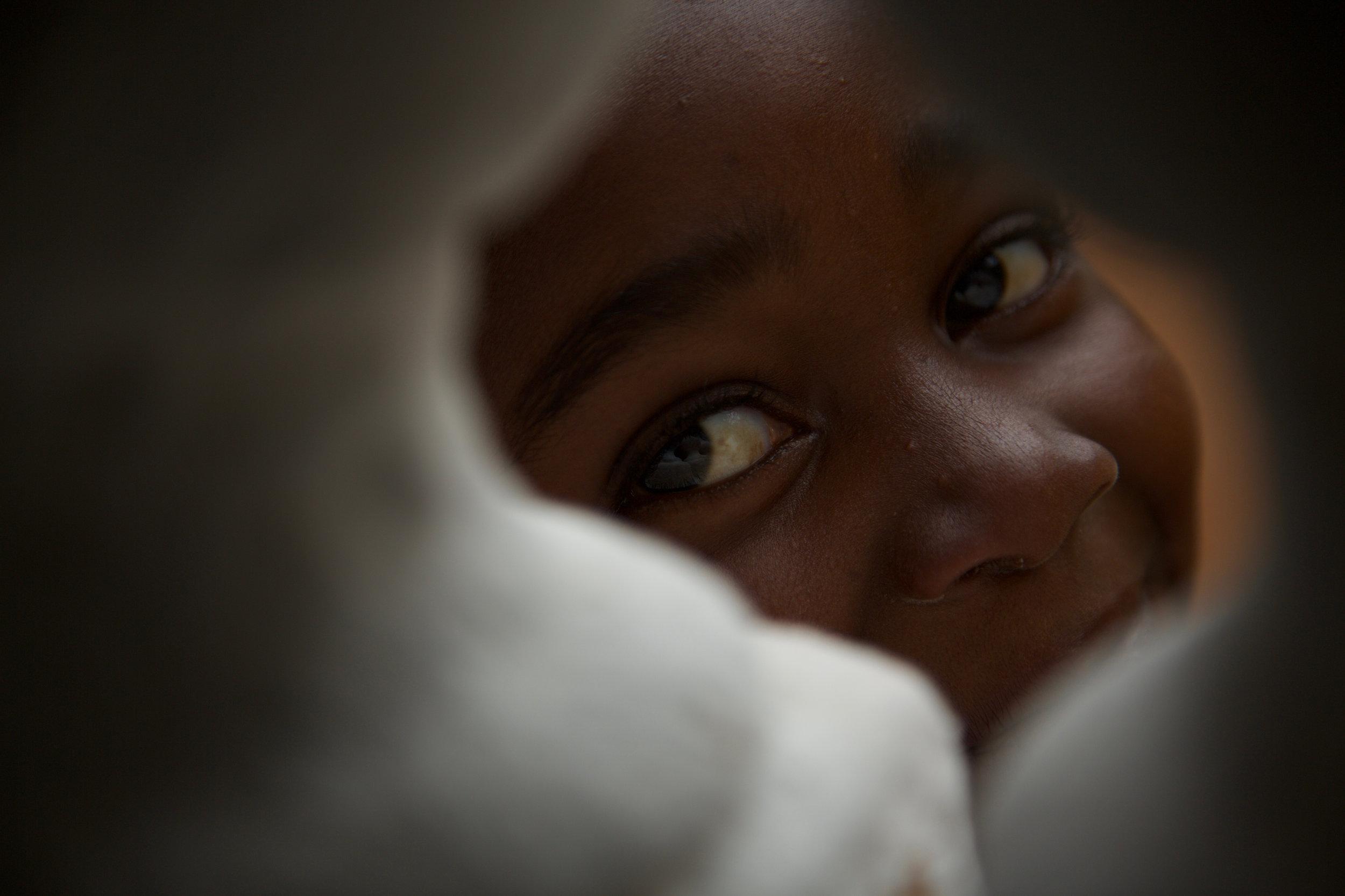 Haitian child looking at camera